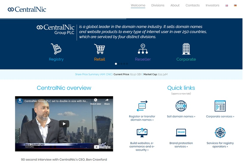 Domain and Hosting Services Provider CentralNic to Acquire Domain Provider ideegeo