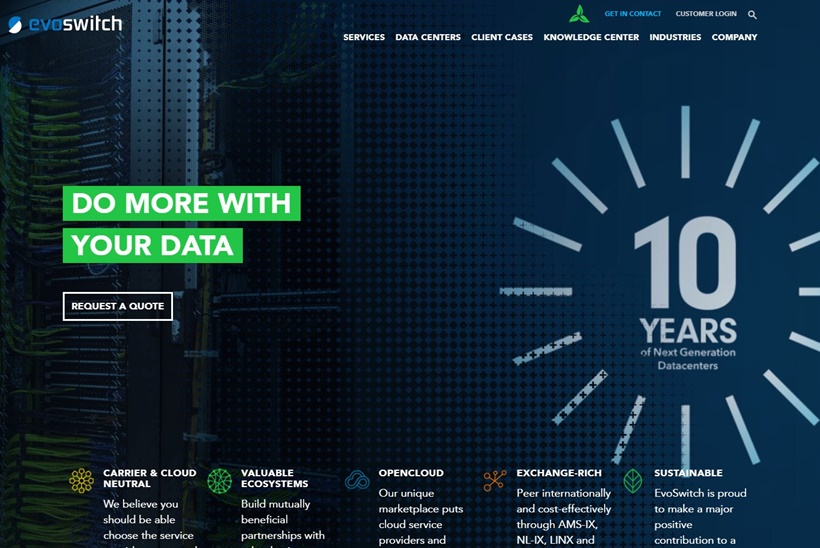 Sustainable Data Center Services Provider EvoSwitch Meets Major Milestone