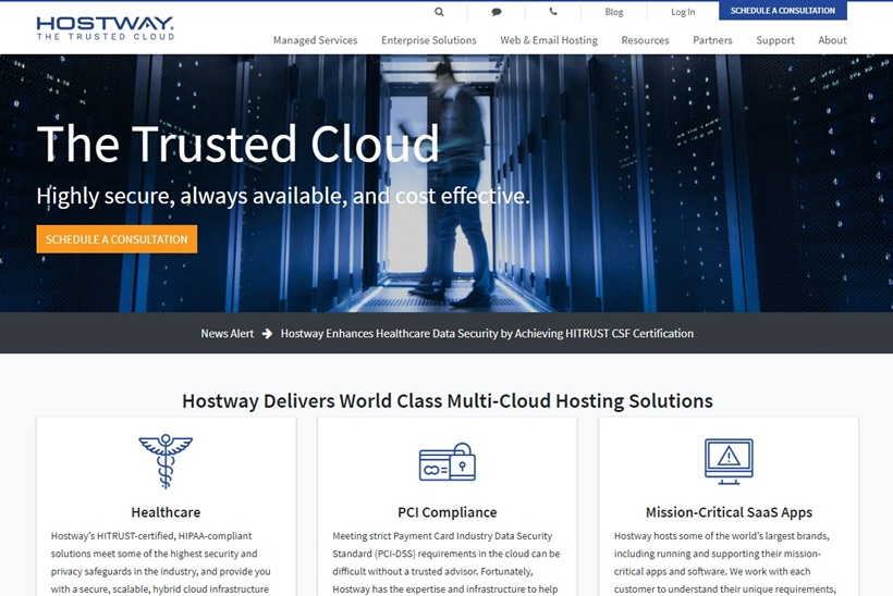 Managed Compliant Hosting Provider Hostway Earns HITRUST CSF Certification for Several Applications