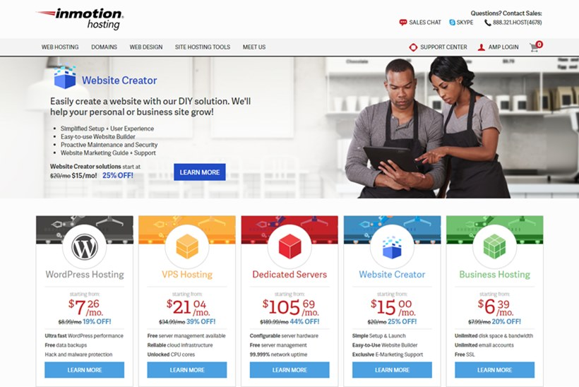 Website Solutions and Professional Services Provider InMotion Hosting Announces Release of 'Website Creator'