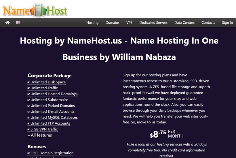 Web Host Namehost.us Makes All Hosting Plans Unlimited