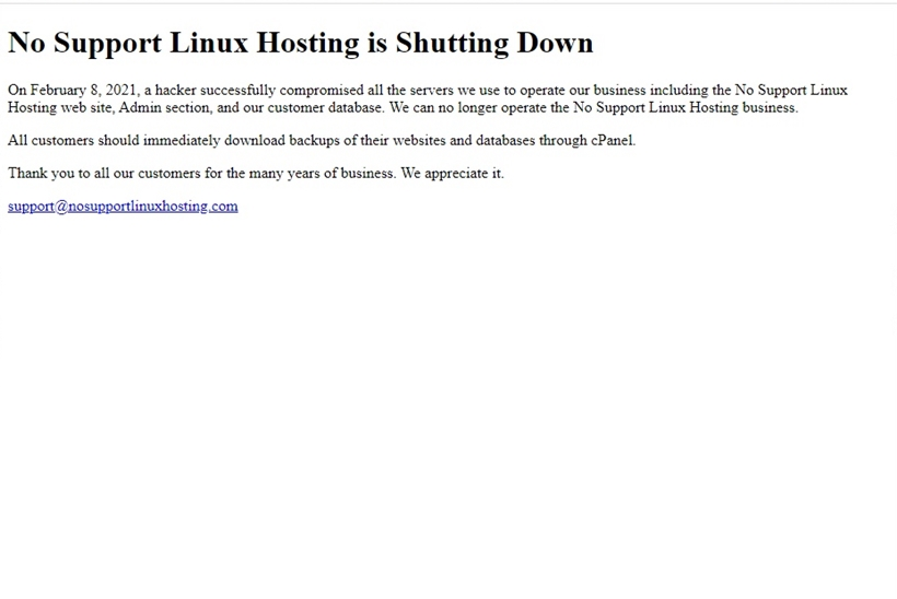 Web Host No Support Linux Hosting Ceases Operations after Cyber-attack
