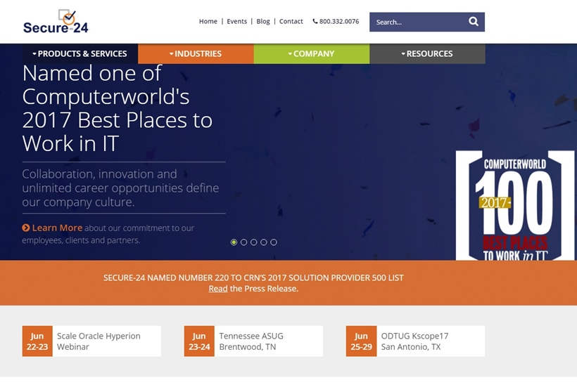 Mission Critical Application Hosting Provider Secure-24 Recognized as One of the 100 Best Places to Work in IT