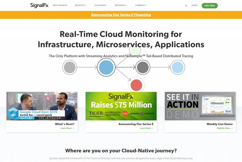 Real-time Cloud Monitoring Platform SignalFx Receives $75 Million Investment