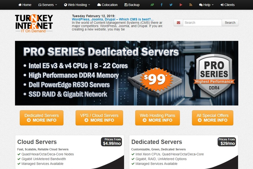 Data Center and Cloud Hosting Solutions Provider TurnKey Internet Launches Dedicated Servers