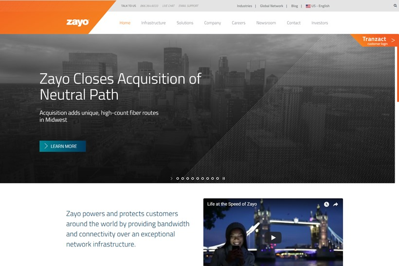 Colocation and Cloud Infrastructure Company Zayo Wins Webscale Company as New Customer