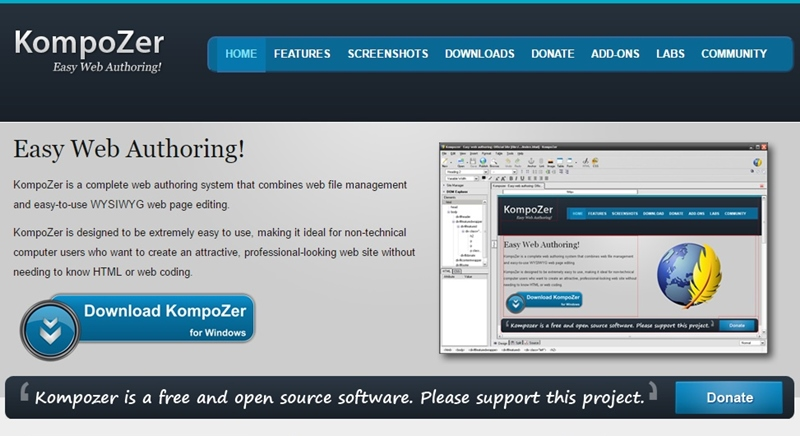 free web design software similar to dreamweaver